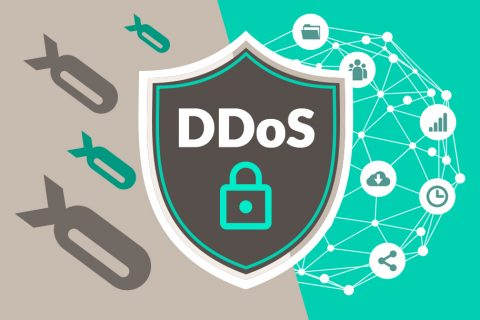 Ilustração de um escudo com a sigla DDOS